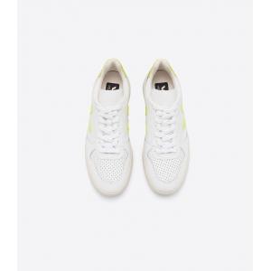 V-10 leather extra white jaune fluo