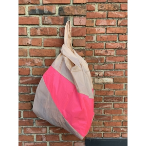 shoppingbag L peach&fluopink