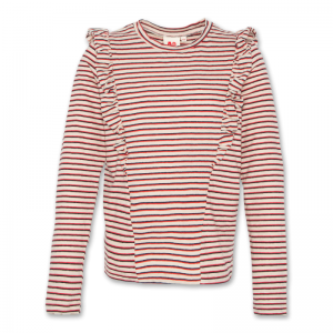 RUFFLE STRIPED T-SHIRT RED
