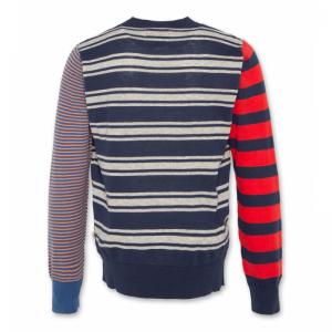 striped c-neck washed blue