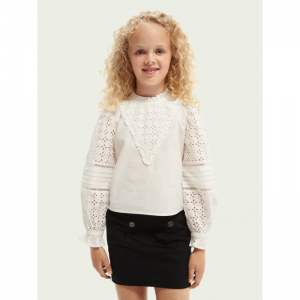WIDE RUFFLED EMBR. ANGLAISE OFF WHITE